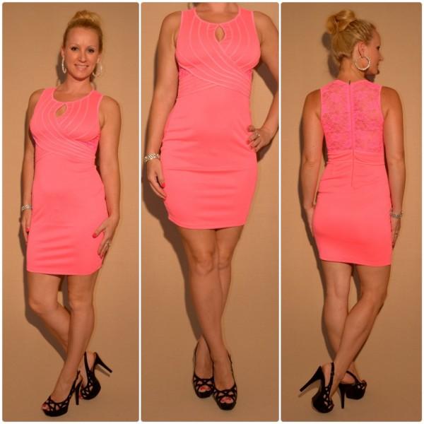 Mini Kleid mit Spitze & außergewöhnlichem Ausschnitt PINK