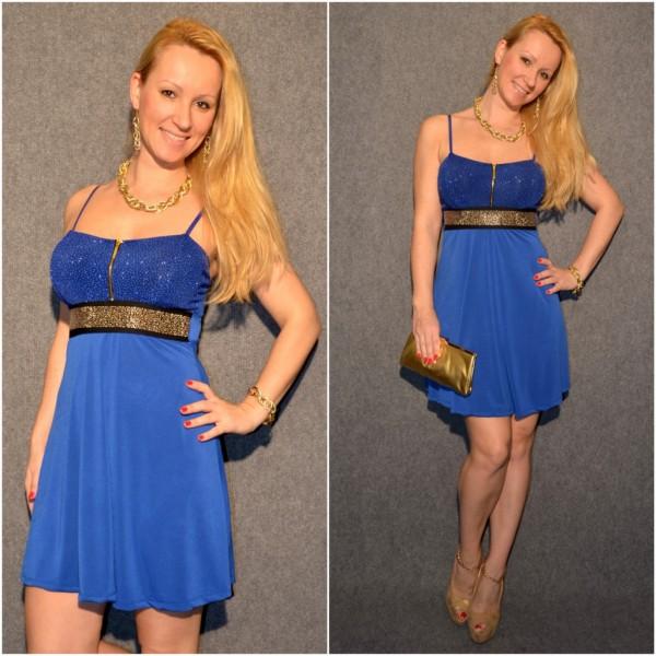 Festliches Träger Kleid mit Nietenbund BLAU