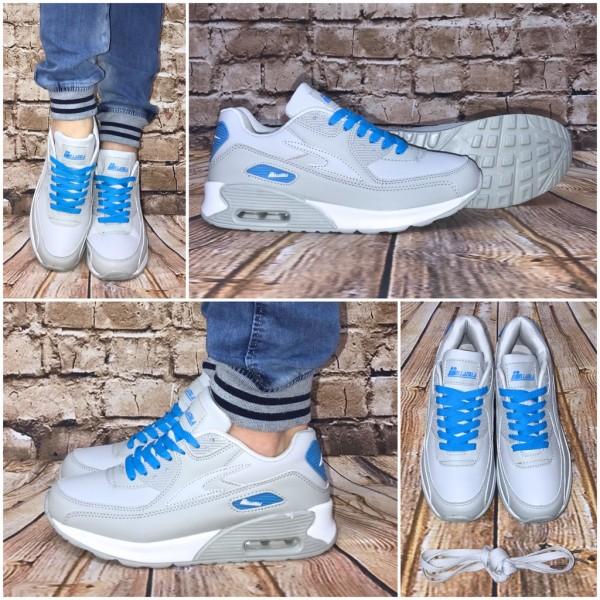 NEW BELLA Style LUFT Sportschuhe / Sneakers HELLGRAU / Blau