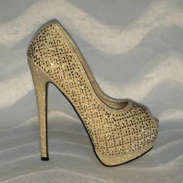Glamour PEEP TOES mit Glitzersteinchen GOLD