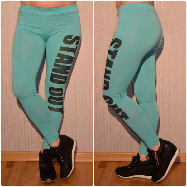 Sportliche Leggings mit STAND OUT Print GRÜN