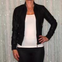 Damen Übergangsjacke in Leder Optik SCHWARZ