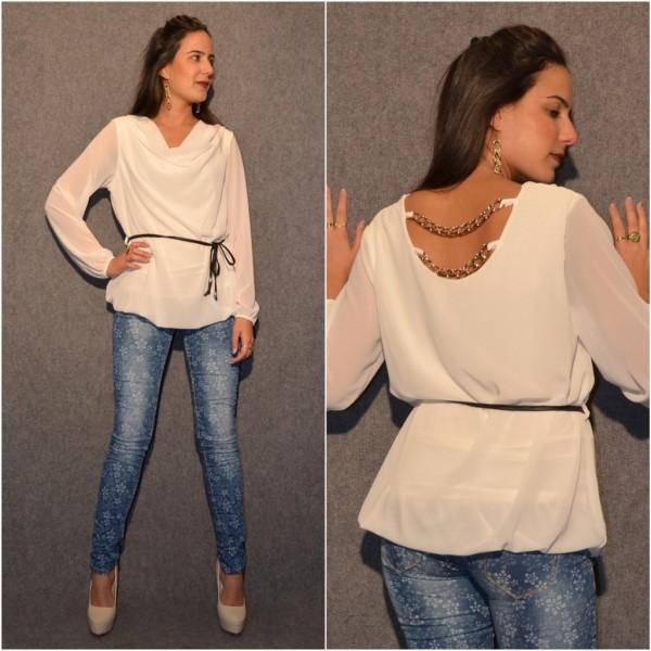 Doppellagige Bluse mit Kettchen am Rücken & Kunstledergürtel WEISS