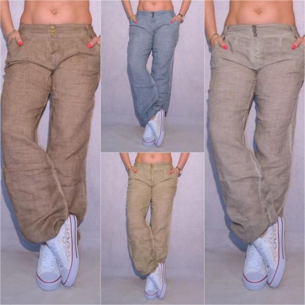 Lässige Fashion Damen Leinen Hose mit Knöpfen