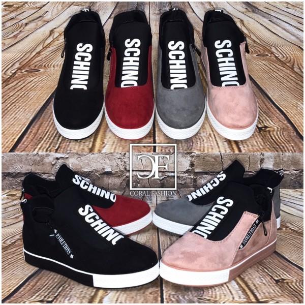 SCHINO SPORT Fashion Slip On schlüpf Sneakers mit seitlichem Zipp