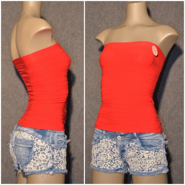BASIC Bandeau Top mit Wellenmuster ROT