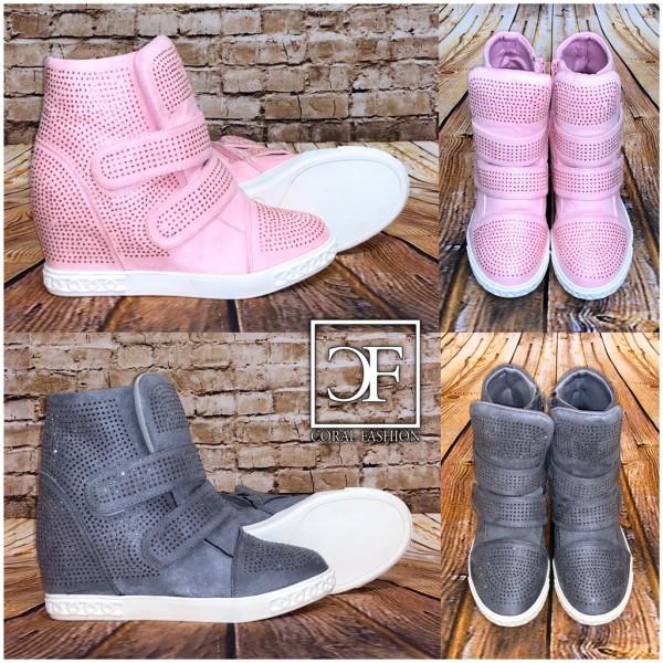 Damen Fashion Keilsneakers Sneakers mit Keilabsatz Nieten Klettverschlüssen und Zipp