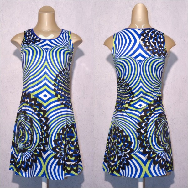 Fashion stretch Kleid / Sommerkleid mit Blumen / Linien Muster & Strass Blau / Grün
