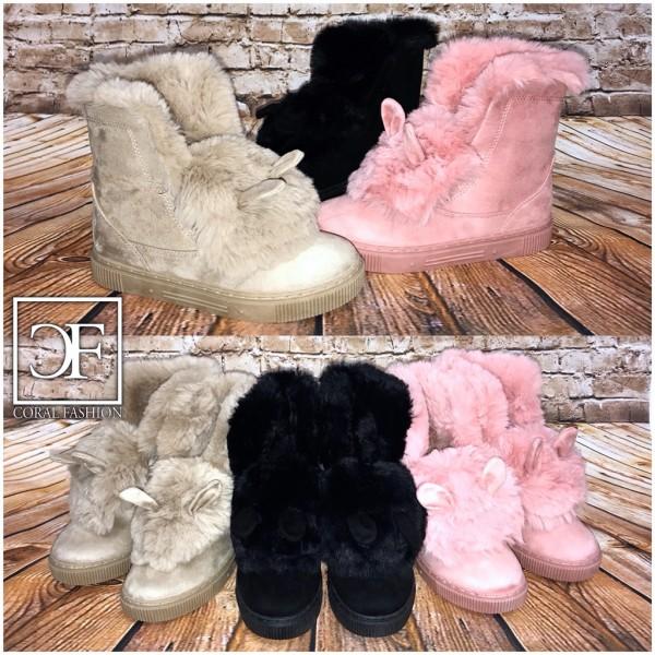 Fashion Herbst-Winter Boots / Stiefeletten mit OHREN / mit Kunstfell gefüttert