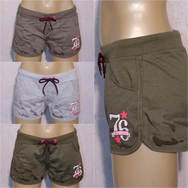 Damen Camouflage SHORTS Hot Pants Kurze Hose mit print 76 STARS
