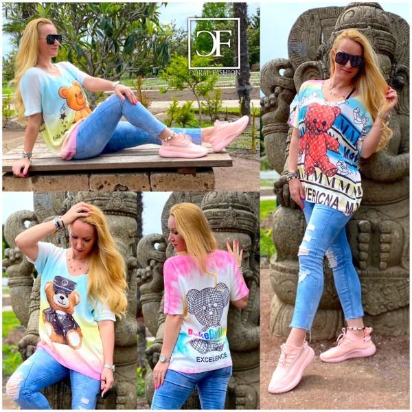 Italy Damen Strick Pullover Shirt mit Teddy Motiven