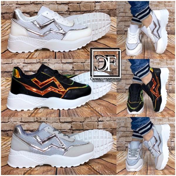 Damen HOLO / GLANZ Stripe Chunky Sneakers Sportschuhe