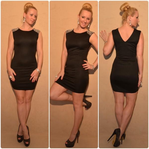 Elegantes Kleid mit Strass SCHWARZ / SILBER