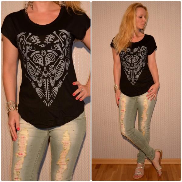 Stylisches Shirt Modell: HERZ / TOTENKOPF Print SCHWARZ