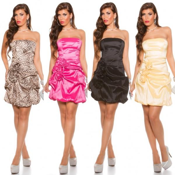 Sexy Damen stretch Party Bandeau Cocktail Kleid mit Blumen / Rosen