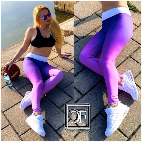 Damen stretch Leggings Fitness Sport Workout Streetwear Hose Lila Ombre