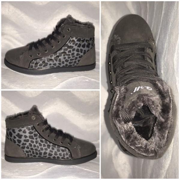 ANGEBOT!!! - Lässige WINTER Sneakers in LEO Look GRAU