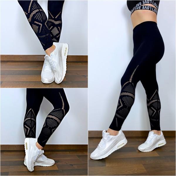 Damen Workout Sport Fitness Leggings mit tollem Lochmuster Cut Outs Schwarz
