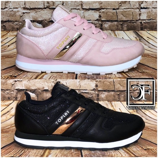 Shine Stripe Damen Sportschuhe Sneakers schimmernd Glitzer