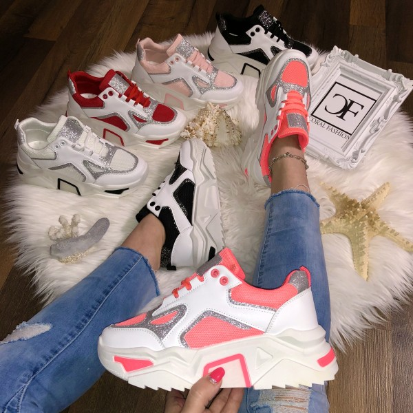 Damen TREND Glitzer Chunky Plateau Sneakers Sportschuhe in 5 Farben