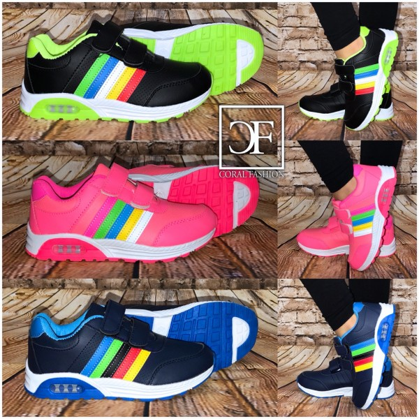 KINDER LUFT Look RAINBOW Stripe Sportschuhe / Sneakers mit Klettverschlüssen