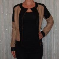 Stylische Damen Jacke zweifarbig BEIGE / SCHWARZ