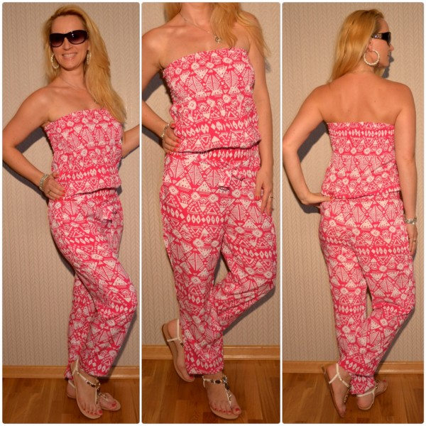 Sommer Jumpsuit / Overall mit Aztekenmuster PINK/WEISS