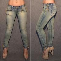 Sexy stretch Jeans mit GOLDENEN Schnüren & Zipp