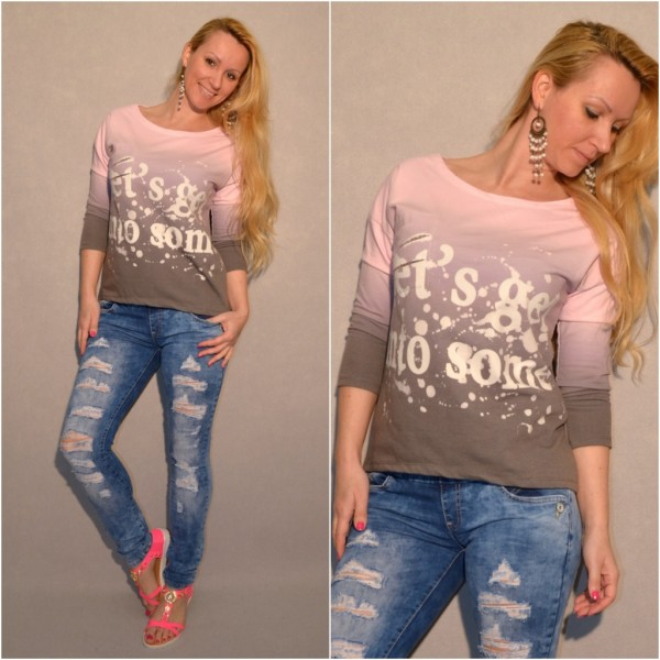 Italy Sweatshirt / Shirt mit print / Let´s get in to some (TROUBLE?) ROSA