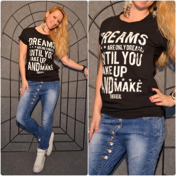 DREAMS Shirt mit Seitentaschen SCHWARZ