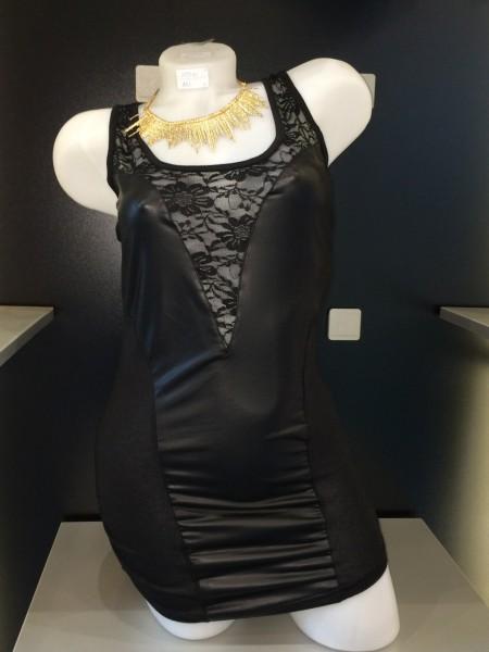 Sexy Kunstleder-Spitze Longshirt SCHWARZ