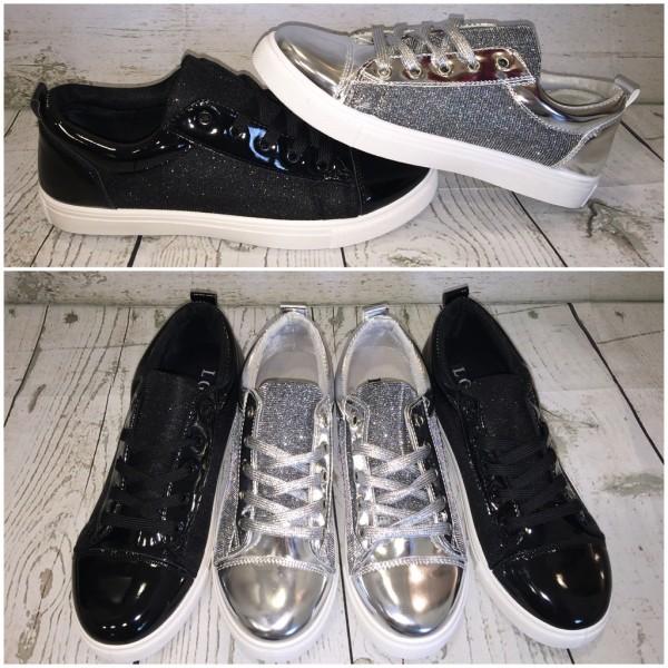 Coole GLITZER LACK Lowcut Sportschuhe / Sneakers