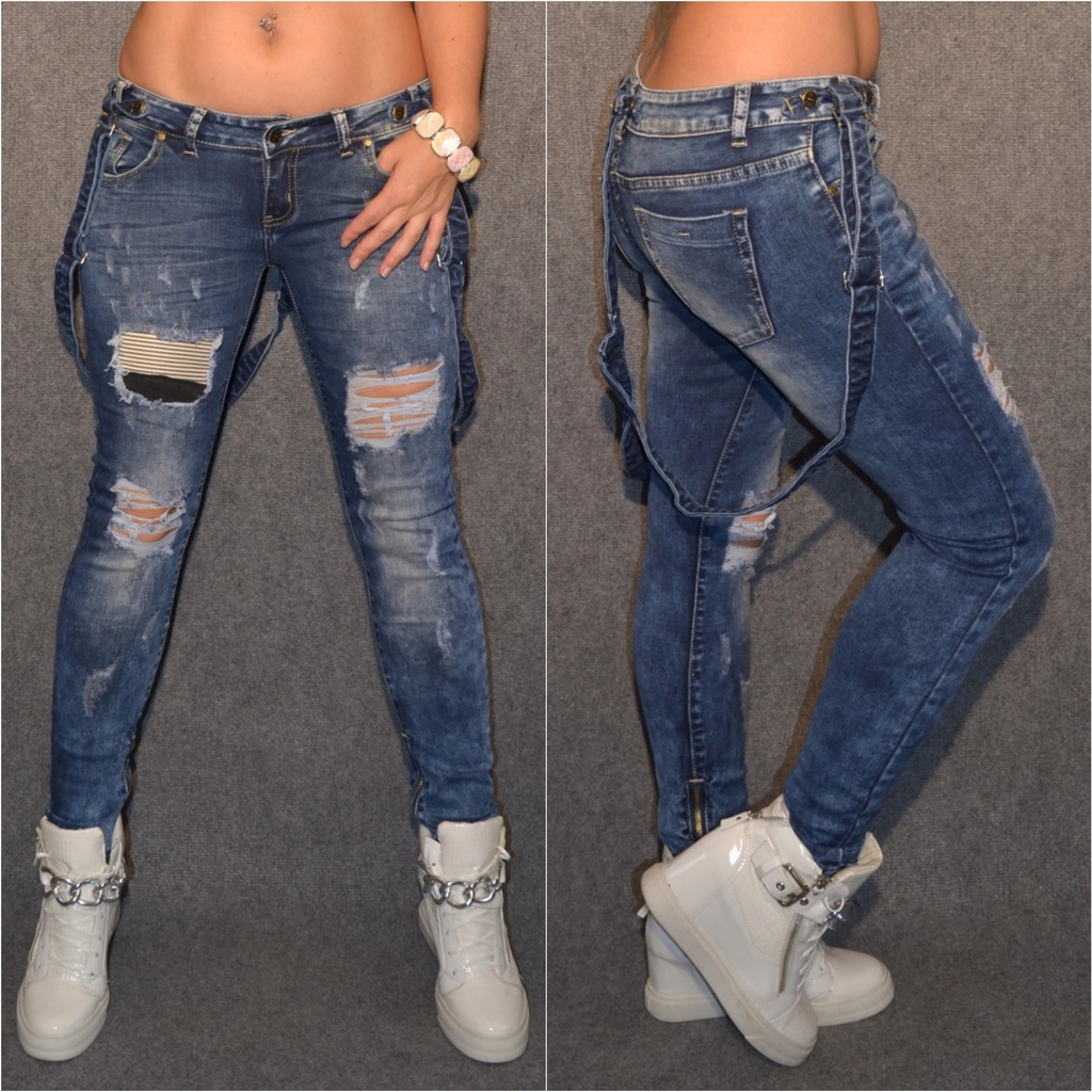 WOW Skinny stretch DESTROYED Jeans mit Jeansträger   Jeans   Damenmode    Mode   Coral Fashion 2f1d890f88