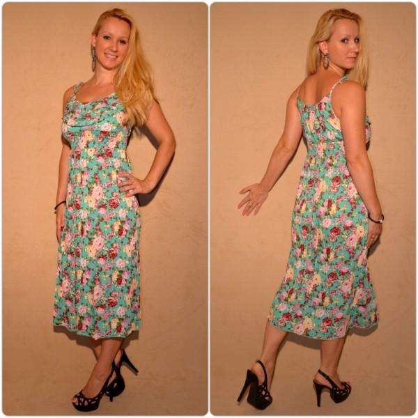 Halblanges Kleid mit sommerlichem Muster GRÜN / BLUMEN