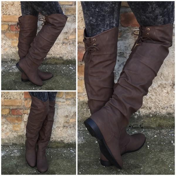 WOW** OVERKNEE Stiefel für Herbst/Winter KAFFEE