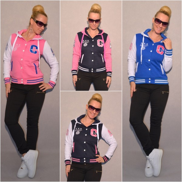 ANGEBOT* Warme College Kapuzenjacke mit AMERICAN OLD SCHOOL Stars Stickerei