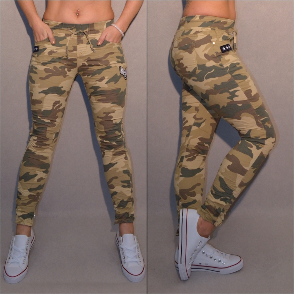 Stretch CAMOUFLAGE   Army   Militär JEANS mit Gummibund   Applikationen    Freizeithosen   Damenmode   Mode   Coral Fashion 569a368175