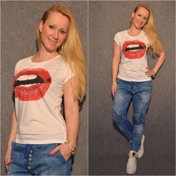 Tolles LIPS Baumwoll T-Shirt / WEISS