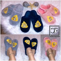 Flauschige Feuer EMOJI Damen Hausschuhe Schlappen Slippers Plüsch Schuhe Angry Emoji