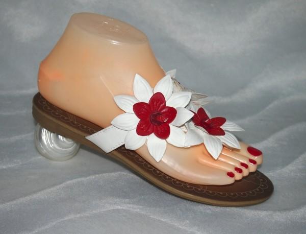 Flip Flops mit Blumen Weiß / Rot