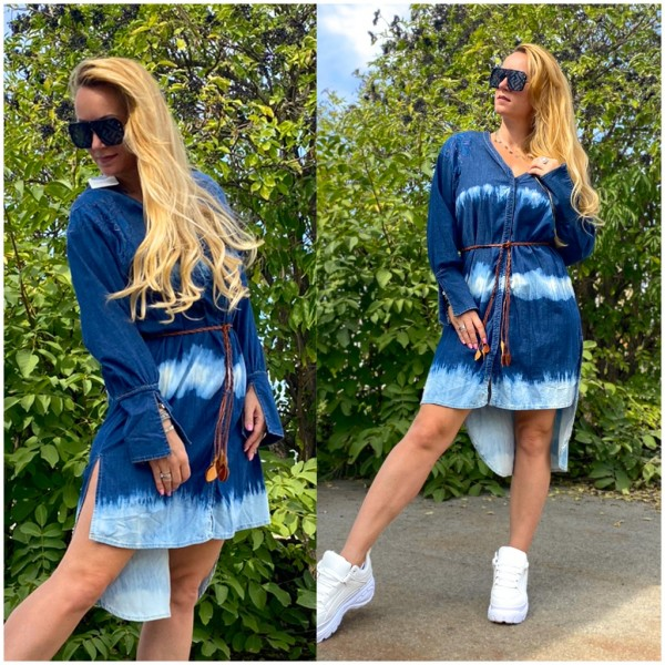 Italy Damen Denim JEANS Kleid Jeanskleid mit Gürtel batik BLAU / Marke PLEASE Fashion