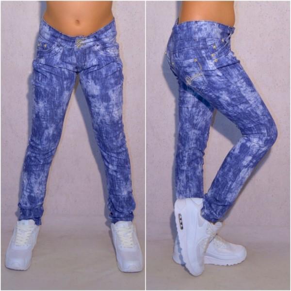 KINDER Mädchen Fashion stretch Denim JEANS Hose in Batik Look Hellblau mit Gürtel