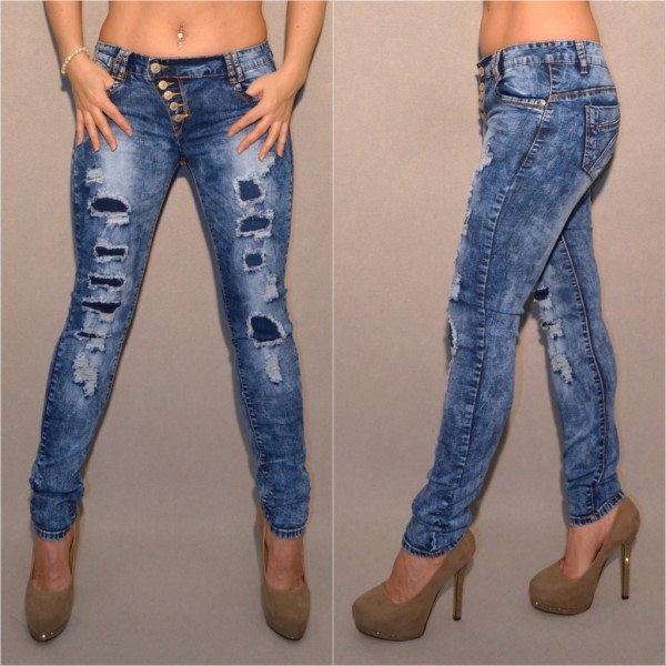 Sexy DESTROYED Look stretch Jeans mit KNÖPFEN blau