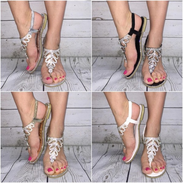 Auffällige Bling Bling Zehentrenner Sandaletten mit MULTY STRASS