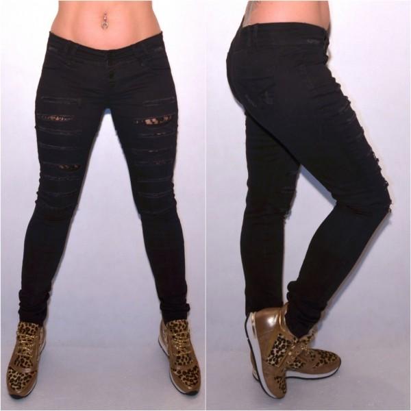 Sexy Destroyed stretch Jeans mit Schlitzen & Spitzeneinsätzen SCHWARZ