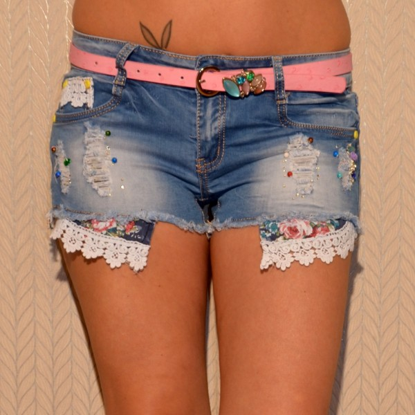 Fashion stretch JEANS Shorts / Hotpants mit Steinchen besetzt inklusive Gürtel