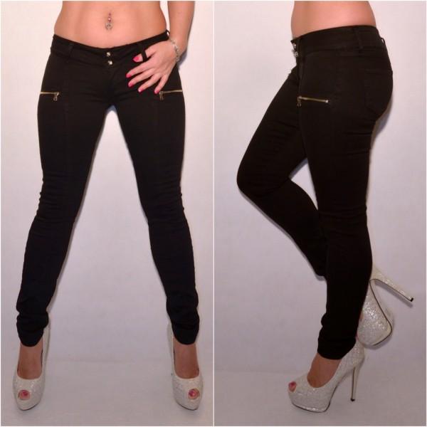 ANGEBOT!! - Sexy stretch Jeans mit Zipp SCHWARZ
