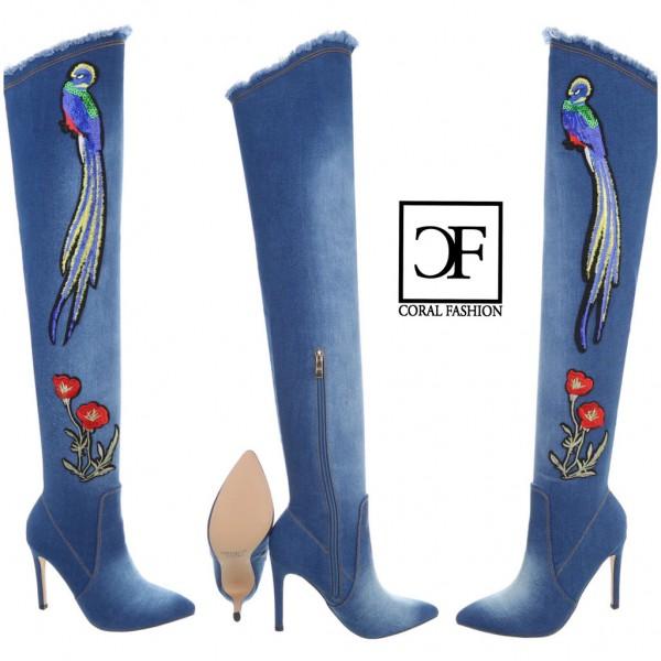 SEXY Damen Highheels OVERKNEEs Langschaft Stiefel stretch Denim Look mit Stickerei Blau