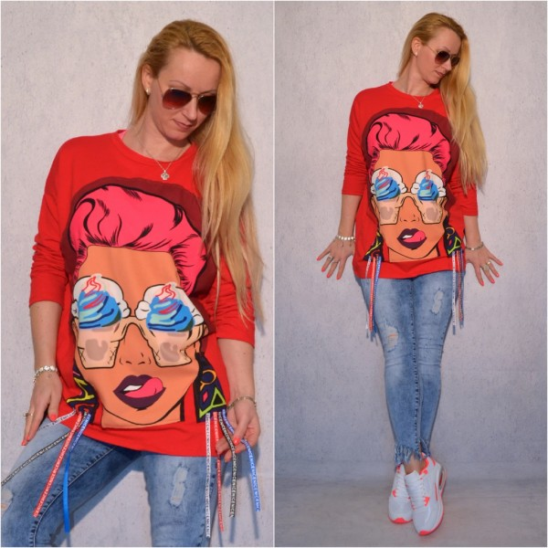 Italy Long Pullover mit Fashion Lady print / Love Ice Cream ROT