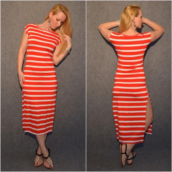 Leichtes Jersey Kleid mit seitlichen Schlitzen GESTREIFT